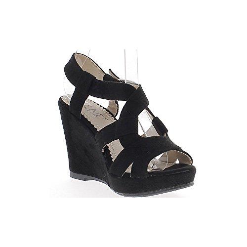 Sandalias de cuña negro con espesor 10cm con tacones de gamuza con plataforma aspecto