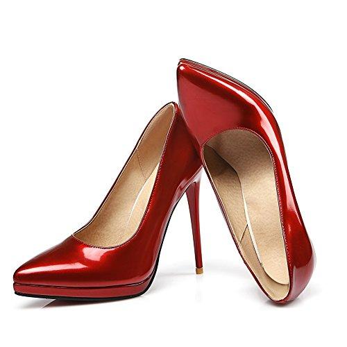 mujer Red vestir de para de KingRover Charol Zapatos xFPqgvAw