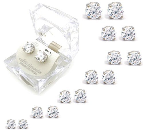 Silver Tone 4,5,6,7,8,9,10mm Clear Round Shape Cubic Zirconia Magnetic Stud Earring (All Size) (4mm (Magnetic Round Earrings)