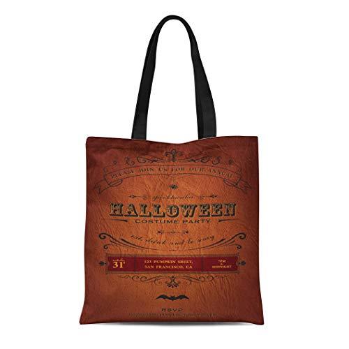 Semtomn Canvas Tote Bag Orange Vintage Halloween Party Label Classic October Announcement Bat Durable Reusable Shopping Shoulder Grocery Bag]()