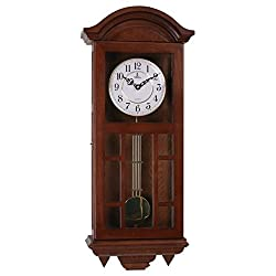 Verona Wood Pendulum Wall Clock with Cutout Design & Glass Front - Elegant & decorative clock with dark brown finish and glass front – 27 x 11.5 x 4.75 inch –Quartz movement, battery operated & silent