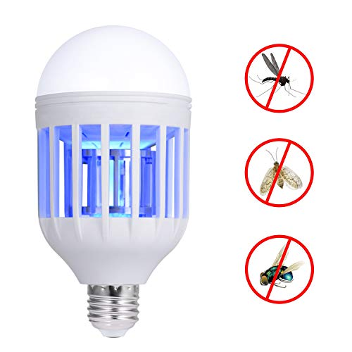 Adoric 110V Mosquito Killer Lamp, Bug Zapper Light Bulb, Electronic Insect Killer, Fits in E26/E27 Light Bulb Socket, Mosquito Trap Night Lamp for Indoor Outdoor Porch Deck Patio Backyard