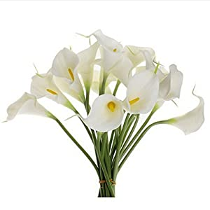 """Outtop 10 Heads 11.8"""" Calla Lily Artificial Flowers Bouquets Real Touch Fake Flower for Home and Wedding Decoration (White) 1"""