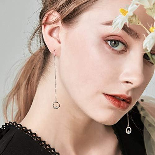 VOROCO 925 Sterling Silver Long Chain Ear Line Plated Gold Copper Tassel Threader Dangle Drop Earrings Hoop Handpicked Freshwater Cultured Pearl for Women Girls Lightweight