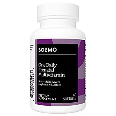 Amazon Brand - Solimo One Daily Prenatal Multivitamin, 60 Softgels. Two Month Supply