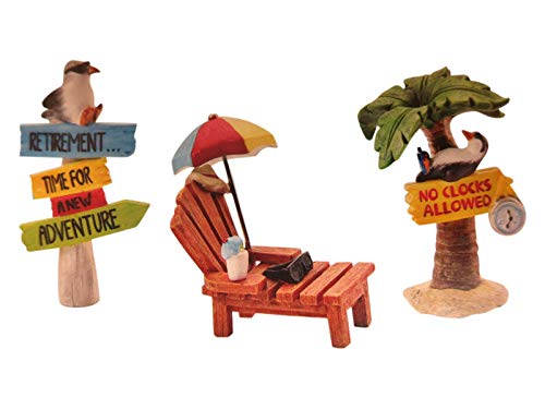 Retirement Desk Accessories Gift Set Includes Vacation No Clocks Allowed Tropical Palm Tree Beach Chair Time for A New Adventure Penguin -