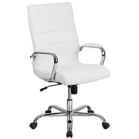 Flash Furniture High Back White Leather Executive Swivel Chair with Chrome Base and Arms - Chair Chrome Base