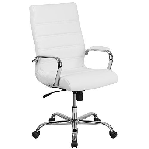 Flash Furniture High Back White Leather Executive Swivel Chair with Chrome Base and Arms - Back Executive Office Chair