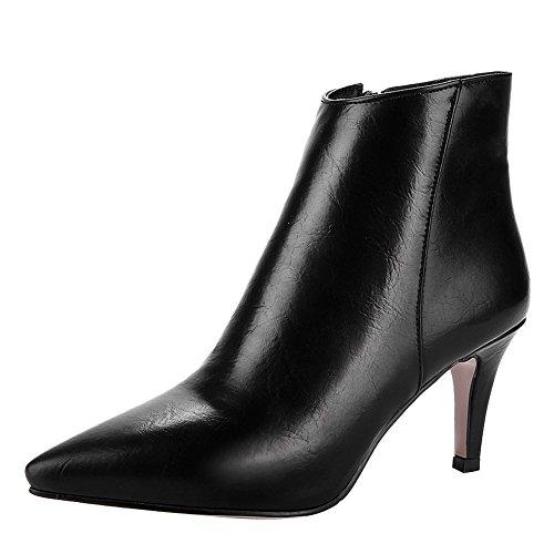 Latasa Dames Puntschoen Hoge Hakken Enkellaars Laarzen Zwart