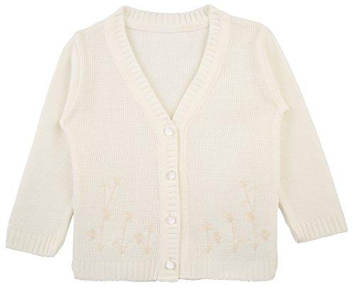 Lilax Baby Girls' Basic Long Sleeve Knit Cardigan Sweater 3M Cream (School Girl Fancy Dress Ideas)