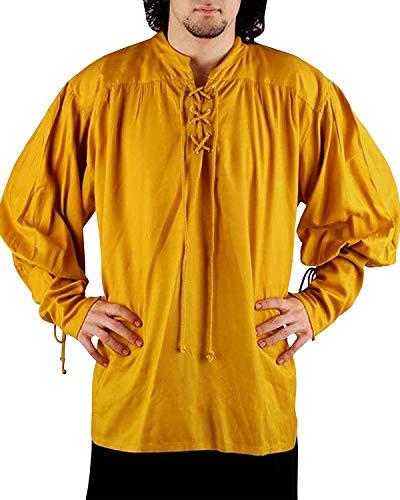 Mens Medieval Pirate Costume Viking Renaissance Shirt Lace up Halloween Mercenary Scottish Jacobite Ghillie Mandarin Collar Tops -