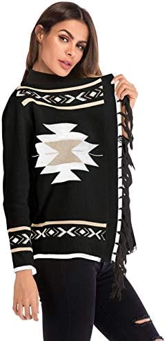 Manga Larga Detalle de Borlas /Étnico Tribal Africano Azteca Geom/étrico Cardigan C/árdigan Sweater de Punto Su/éter Coat Capa Abrigo Jacket Cazadora Chaqueta Chamarra Top