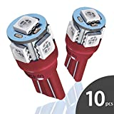 Marsauto 194 168 T10 2825 Red LED Light Bulbs for Car Dome Map Door Courtesy License Plate Lights (Pack of 10)