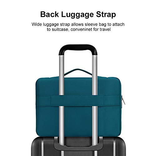 MOSISO Laptop Sleeve 360 Protective Case Bag Compatible with 13-13.3 inch MacBook Pro, MacBook Air, Notebook Computer, Polyester Briefcase with Trolley Belt, Deep Teal