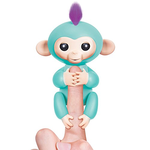 Fingerlings   Interactive Baby Monkey   Zoe  Turquoise With Purple Hair    Children Kids Toys