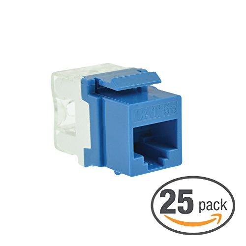 25 Keystone Wall Plates - Mediabridge Cat5e Keystone Jack (Blue) - Punch-Down RJ45 Insert for Keystone Wall Plate - 25 Pack (Part# 51J-C5-BLU-25PK )