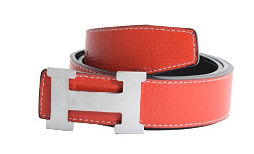 Men's H Reversible Leather Belt With Removable Buckle Red with Silver Buckle -