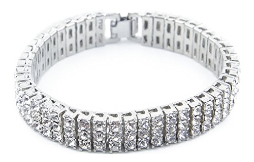 Censtusllery Men Hip Hop Titanium Steel Three Row Crystal Chain