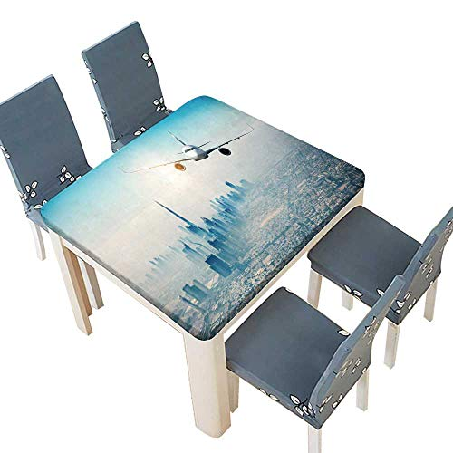 PINAFORE Table in Washable Polyeste Commercial Airplane Flying Over Modern City Linen Cotton Tablecloths Kitchen Room 37.5 x 37.5 INCH (Elastic Edge)