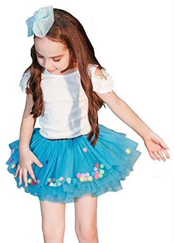 Buenos Ninos Little Girl's 8-Layers Short Ballet Tulle Skirt Fluffy Dress-up Tutu with Pom Pom Puff Balls for 1-6T (Blue with -