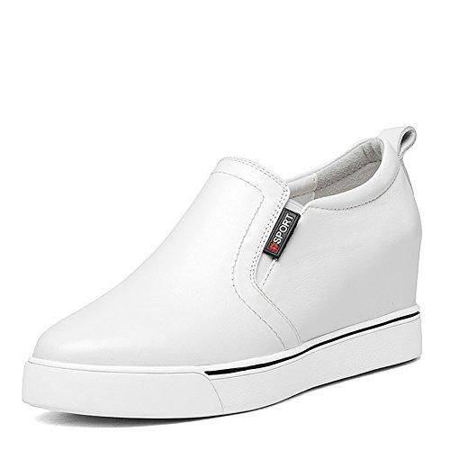 Punta alta de fondo grueso de salvaje zapato blanco/ zapatos de cuñas de plataforma C