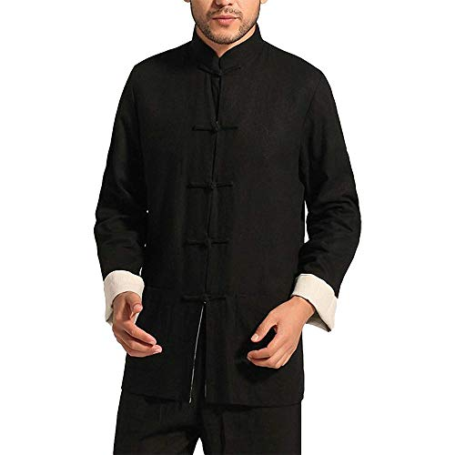 Jacket Kung Fu - ZooBoo Kung Fu Jacket Both Sides Wear Tops Martial Arts Long Jersey (XXL, Black with Beige)