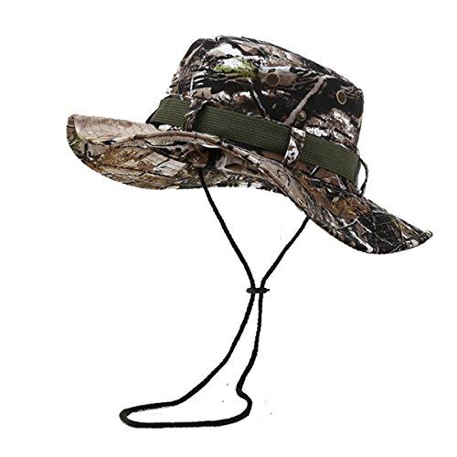 Fonshow Jungle Camo Boonie Sun Hat Snap Wide Brim Caps Outdoor Fishing Hunting Bucket Safari Cap JON56-Gray Camo