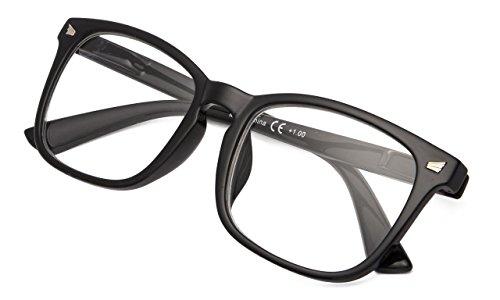 Fashion Ladies Redaers Stylish Reading Glasses Women Clear Lens Black Frame +1.25