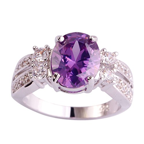 (Veunora 925 Sterling Silver Created Amethyst Filled Promise Engagement Ring for Women Size 9)