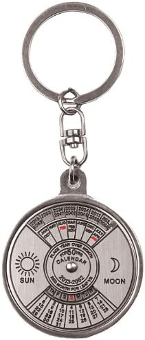 Norpie Perpetual Calendar Keychain Mini Metal Keyring Car Key Chain Circular 50 Years 2010-2060 Cute Creative Gift