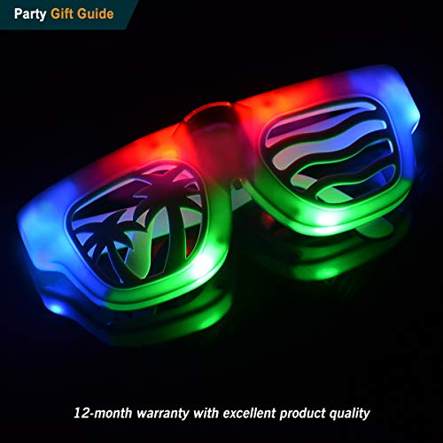 POPCHOSE Flashing Glow Led Light Up Party Glasses with Color bar Halloween Costume Christmas Xmas Dance Party Favors