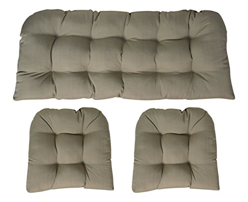 RSH DECOR Sunbrella Linen Champagne 3 Piece Wicker Cushion Set - Indoor/Outdoor Wicker Loveseat Settee & 2 Matching Chair Cushions - Linen Look - 100% Solution Acrylic Dyed