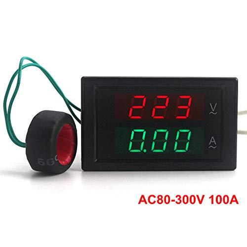 KETOTEK Digital Multimeter AC Ammeter Voltmeter 80V-300V/100A Ammeter Voltmeter110V/220V Capacitance and Watt Meter LED Dual Panel Display Detector+Current Sense transformer (Ac Ammeter Analog)