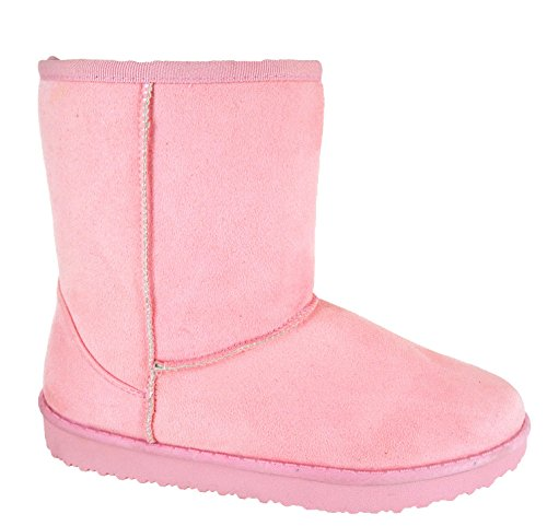 EYESONTOES Ladies Womens Warm Winter Faux Fur Lined Hug Snugg Ankle Shoes Boots Size 3-8 Pink