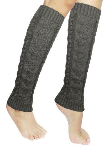 Acrylic Leg Warmers (Dahlia Women's Cable Knit Leg Warmers - Gray)
