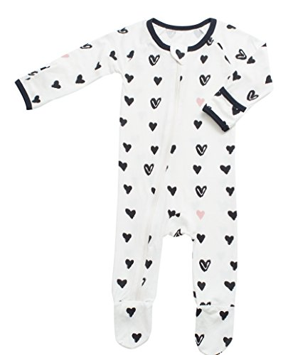 BESTAROO Baby hearts Zippered Footie 0-3m