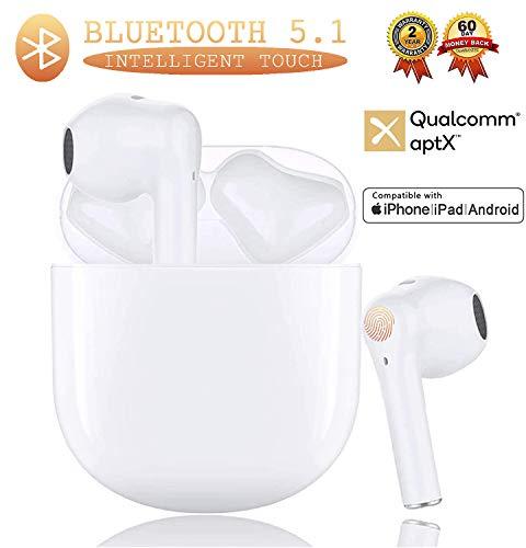 Auriculares Bluetooth Auriculares inalámbricos Auriculares 3D estéreo IPx7 Prueba de Agua Prueba de Sudor Toque Auriculares Deportivos Funciona Compatible con Android/Airpods/iPhone/Apple (Blanco)