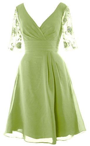 Women Neck Half The Bride Dress Sleeves MACloth of Mother Short Pistachio Cocktail Dress V ZwdqnnFpa