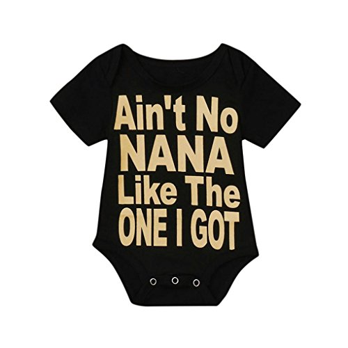 G-real Infant Baby Girls Cute Letter Print Romper Tops Short Sleeve Black Onesie Jumpsuit (Black, - Onesie Baby Like