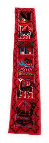- Embroidered Peruvian Wool Tapestry. Table Runner. Decorating Artwork for Table, Wall Hanging for Bedroom or Living Room, 57