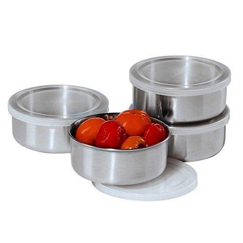 Oggi Prep Stainless Steel Prep Bowls with PP Lids 10-Oz Set of 4