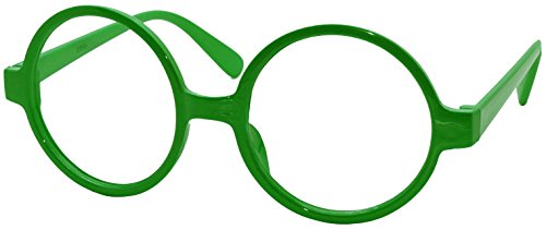 FancyG Retro Geek Nerd Style Round Shape Glass Frame NO LENSES - - Glasses Green