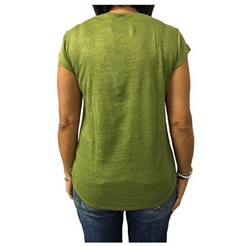 LA FEE MARABOUTEE t-Shirt Donna Verde 100% Lino MOD W7806