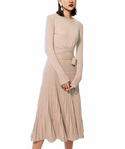 Cashmere Beige Sweater (FINCATI Long Maxi Sweater Dress 2018 Spring Autumn Cashmere Belt Fitted Waist Pleated Midi Dresses (Beige, L))