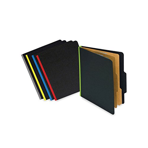 2 Dividers 6 Partitions Letter (Pressboard File Folder with 6 Permclip Fasteners- Letter Size, Black with Blue Binding, 2 Natural Kraft Dividers, Tyvek Gussets, Top Tab (15/Box))