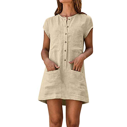 (Dresses for Women Nuewofally Casual Summer Short Sleeve Solid Button Coton and Linen Shirt Dress Mini Dress with Pockets (Beige,XL))