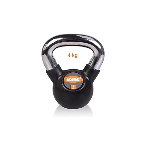 LiveUP Sports - Kugelhantel Kettlebell 4Kg Eisen Gummi Gewicht Chrome Handle Fitness Training