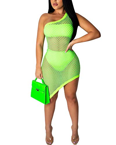 Uni Clau Three Piece Swimsuits for Women Bandeau Top + Bikini Bottom + Mesh See Through Beach Coverups Dress Green ()