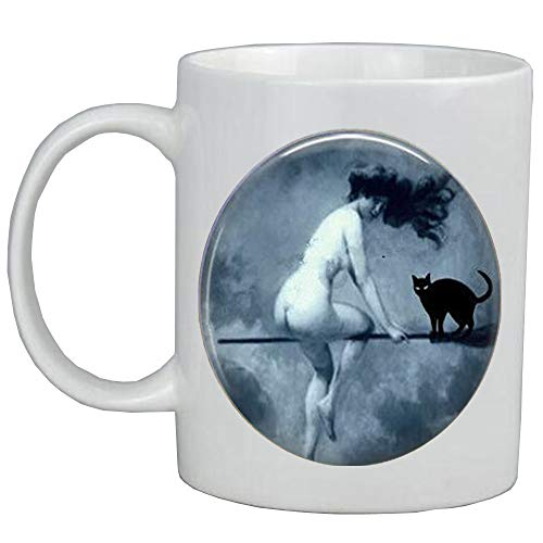 Halloween Coffee Mug-Victorian Nude Witch Riding a Broom-Witch