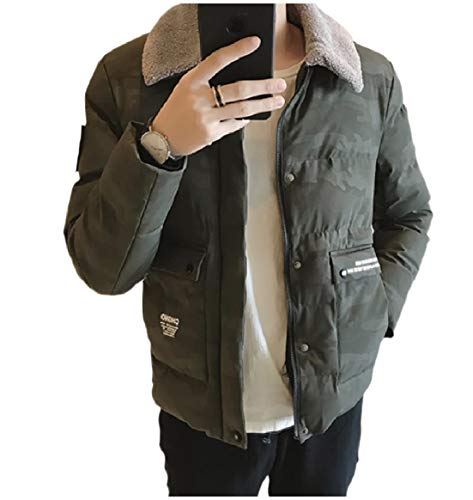 Casual Jacket Men Collar Camouflage Relaxed RkBaoye Pocket Down Turn Green 7xp4U